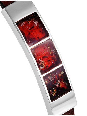 Stylish Leather Bracelet With Cherry Amber The London, image , picture 3