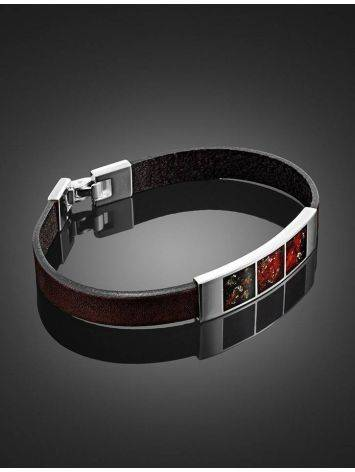 Stylish Leather Bracelet With Cherry Amber The London, image , picture 2