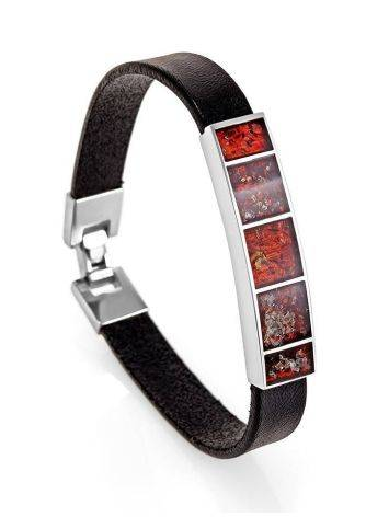 Leather Bracelet With Cherry Amber The London, image , picture 4
