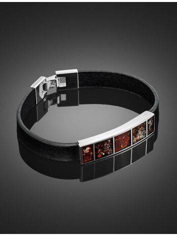 Leather Bracelet With Cherry Amber The London, image , picture 2