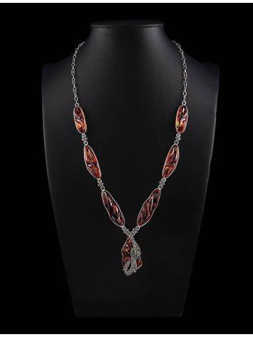 Cognac Amber Pendant Necklace In Sterling Silver With Marcasites The Colorado, image , picture 2