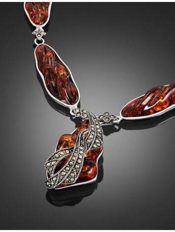 Cognac Amber Pendant Necklace In Sterling Silver With Marcasites The Colorado, image , picture 3