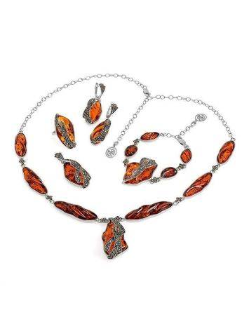 Cognac Amber Pendant In Sterling Silver With Crystals The Colorado, image , picture 4