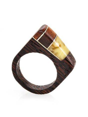 Handcrafted Wenge Wood Ring With Butterscotch Amber The Indonesia, Ring Size: 8 / 18, image , picture 4