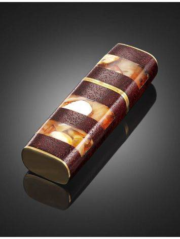 32 Gb Handcrafted Flash Drive With Padauk Wood And Honey Amber The Indonesia, image , picture 2