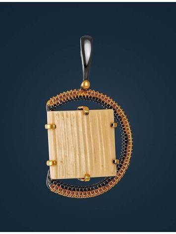 Round Gold Plated Pendant With Natural Mammoth Tusk The Era, image , picture 2