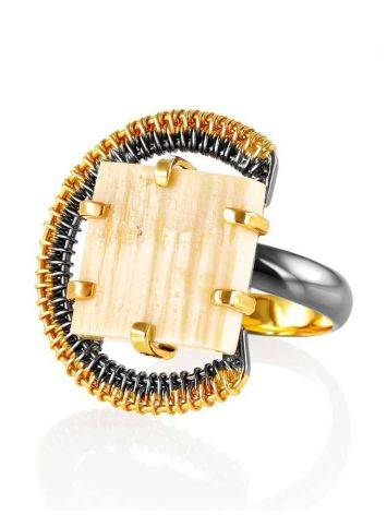 Adjustable Gold-Plated Ring With Square Cut Mammoth Tusk The Era, Ring Size: Adjustable, image , picture 3