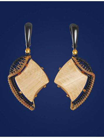 Gold-Plated Drop Earrings With Mammoth Tusk The Era, image , picture 3