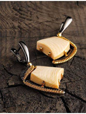 Gold-Plated Drop Earrings With Mammoth Tusk The Era, image , picture 2
