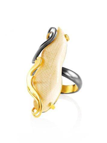 Extravagant Gold-Plated Ring With Natural Mammoth Tusk The Era, Ring Size: Adjustable, image , picture 3