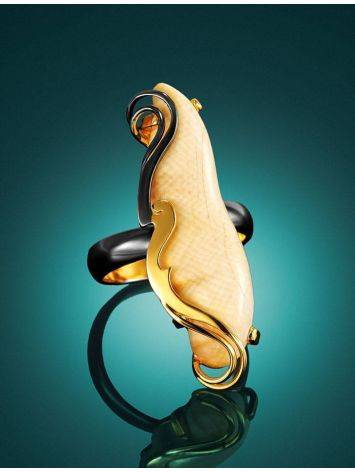 Extravagant Gold-Plated Ring With Natural Mammoth Tusk The Era, Ring Size: Adjustable, image , picture 2