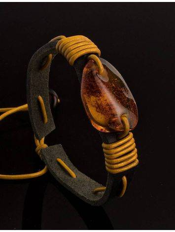 Brown Leather Tie Bracelet With Cognac Amber The Copacabana, image , picture 2
