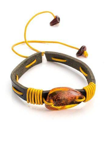 Brown Leather Tie Bracelet With Cognac Amber The Copacabana, image , picture 3