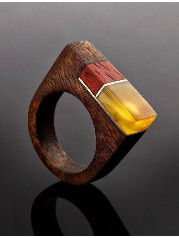 Multicolor Wooden Ring With Butterscotch Amber The Indonesia, Ring Size: 8.5 / 18.5, image , picture 2