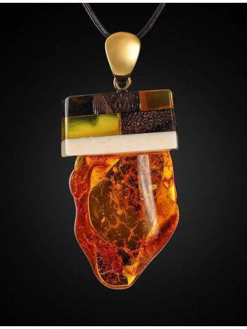 Wooden Pendant With Amber And Mammoth Tusk The Indonesia, image , picture 3