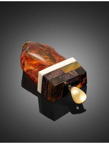 Wooden Pendant With Amber And Mammoth Tusk The Indonesia, image , picture 4