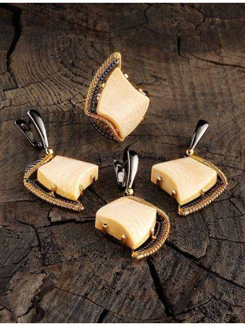 Adjustable Mammoth Tusk Ring In Gold-Plated Silver The Era, Ring Size: Adjustable, image , picture 4