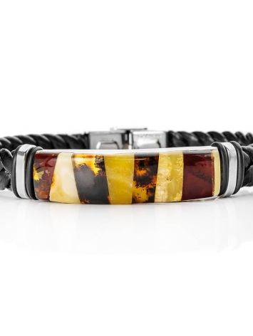 Braided Leather Wristband With Multicolor Amber The Grunge, image , picture 4