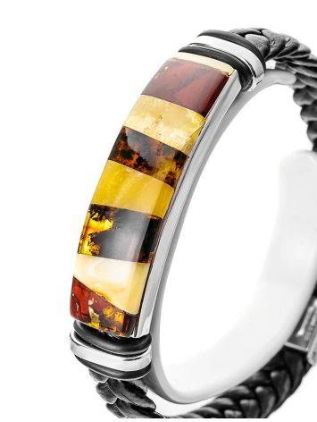 Braided Leather Wristband With Multicolor Amber The Grunge, image , picture 2