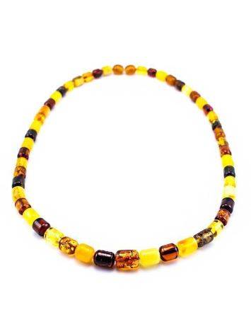 Multicolor Amber Barrel Beaded Necklace, image , picture 3