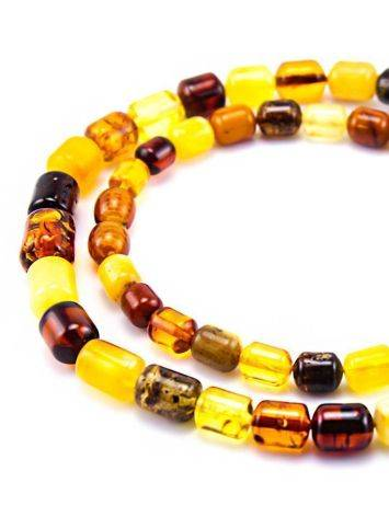 Multicolor Amber Barrel Beaded Necklace, image , picture 2