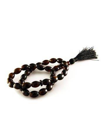 33 Black Amber Islamic Rosary With Tassel, image , picture 5