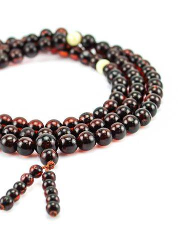108 Cherry Amber Mala Beads With Dangle, image , picture 2