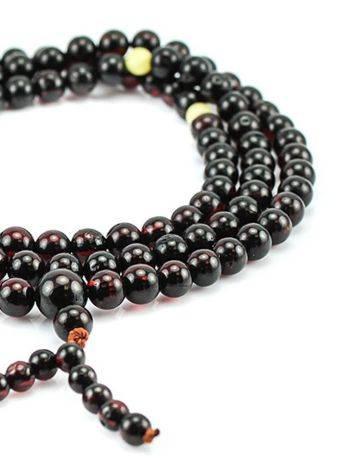 Cherry Amber Buddhist Prayer Beads, image , picture 2
