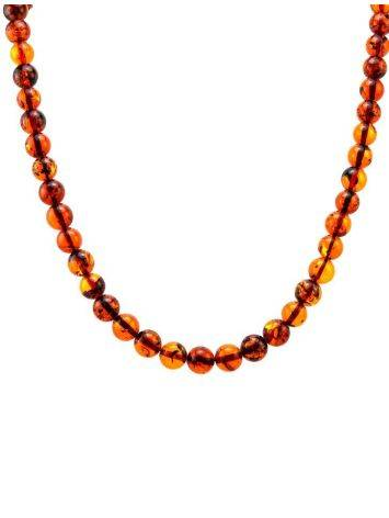 Cognac Amber Ball Beaded Necklace, image , picture 5