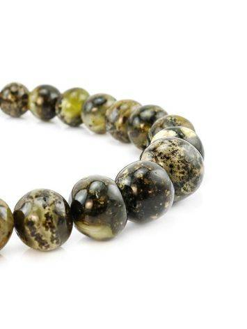 Dark Amber Ball Beaded Necklace The Meteor, image , picture 3