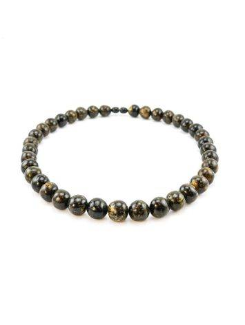 Black Amber Ball Beaded Necklace The Meteor, image , picture 3