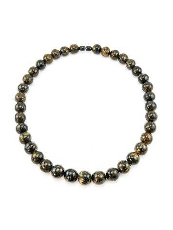 Black Amber Ball Beaded Necklace The Meteor, image , picture 5