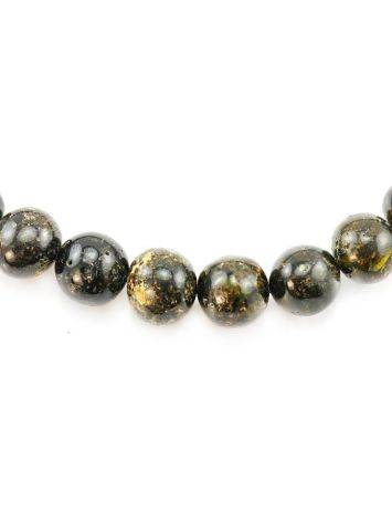 Black Amber Ball Beaded Necklace The Meteor, image , picture 4