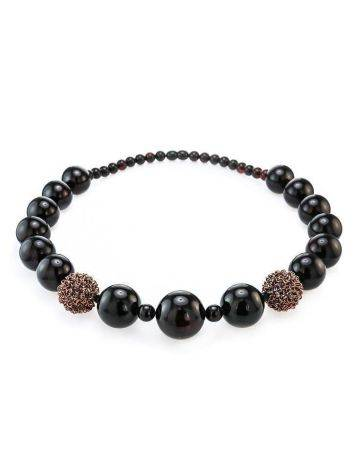 Dark Cherry Amber Ball Beaded Necklace The Ariadna, image , picture 4