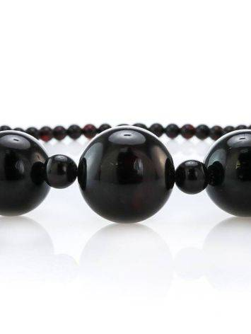 Dark Cherry Amber Ball Beaded Necklace The Ariadna, image , picture 3