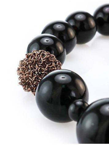 Dark Cherry Amber Ball Beaded Necklace The Ariadna, image , picture 2