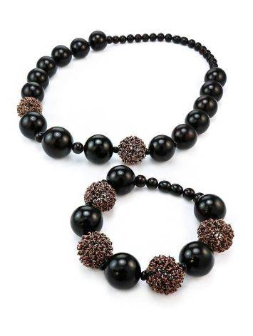 Dark Cherry Amber Ball Beaded Necklace The Ariadna, image , picture 5