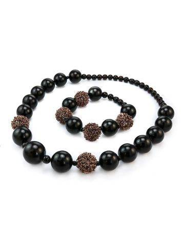 Dark Cherry Amber Ball Beaded Necklace The Ariadna, image , picture 6
