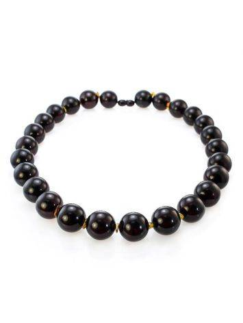 Cherry Amber Ball Beaded Necklace The Ariadna, image , picture 4