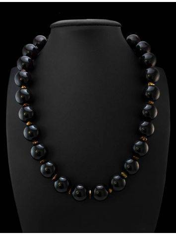 Cherry Amber Ball Beaded Necklace The Ariadna, image , picture 2