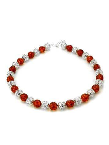 Amber And Silver Ball Beaded Necklace, image , picture 5