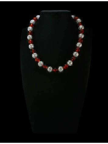 Amber And Silver Ball Beaded Necklace, image , picture 3