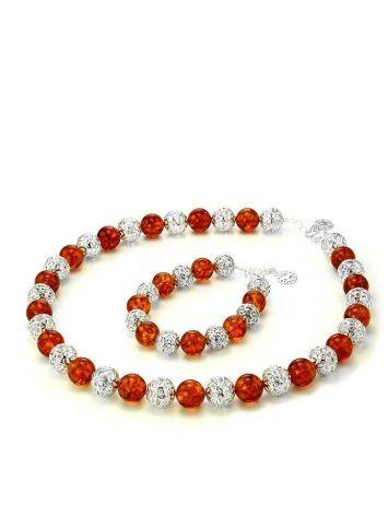 Amber And Silver Ball Beaded Necklace, image , picture 7
