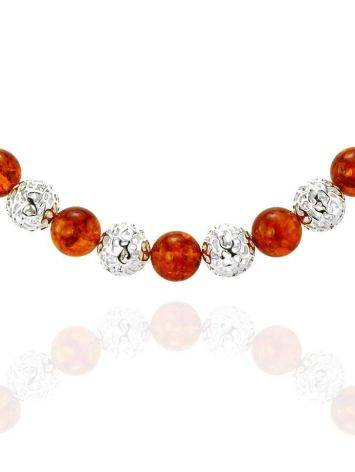 Amber And Silver Ball Beaded Necklace, image , picture 6