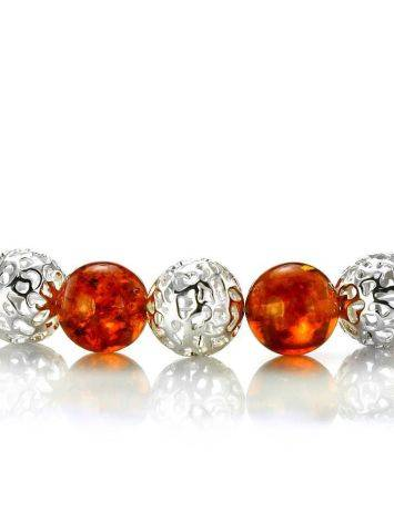 Amber And Silver Ball Beaded Necklace, image , picture 4