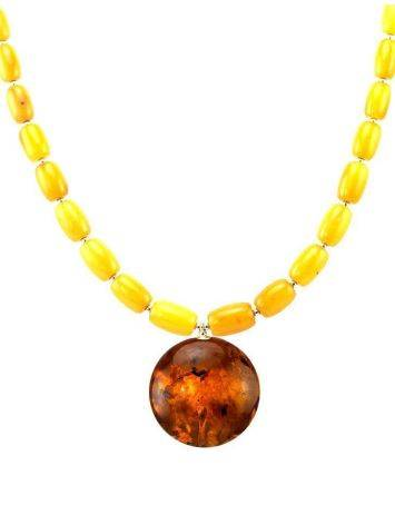 Honey Amber Beaded Necklace With Bail, image , picture 4