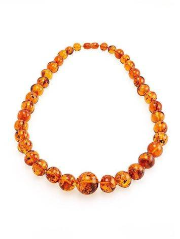 Bright Cognac Amber Ball Beaded Necklace, image , picture 3