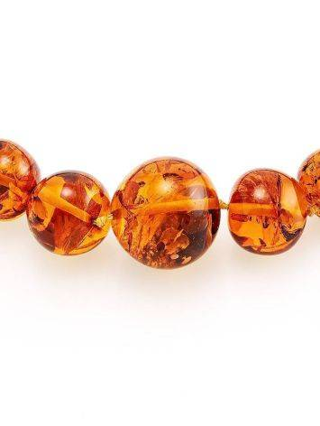 Bright Cognac Amber Ball Beaded Necklace, image , picture 4