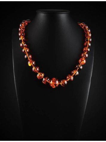 Bright Cognac Amber Ball Beaded Necklace, image , picture 2
