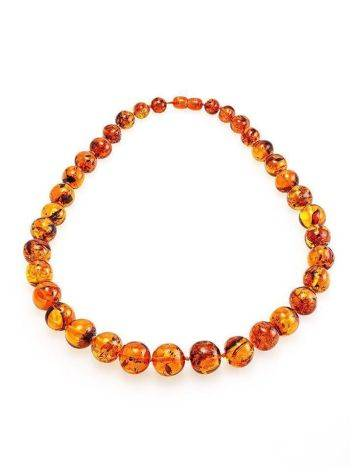 Classy Cognac Amber Ball Beaded Necklace, image , picture 3